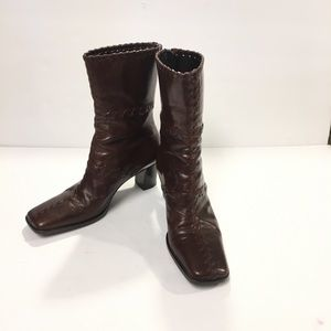 Nine West Brown Leather Mid Calf Boots Size 6.5M